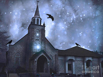 Gothic Surreal Old Church With Ravens And Stars - Winter Night Print by Kathy Fornal