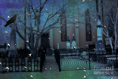 Ravens And Crows Photograph - Gothic Surreal Ravens Crows Cemetery Landscape by Kathy Fornal