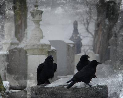 Graveyard Digital Art - Gothic Winter Crows by Gothicolors Donna Snyder