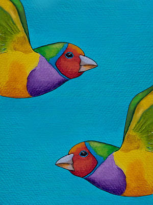 Finch Painting - Gouldian Finches by Robert Lacy
