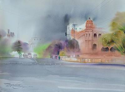 Gpo Lahore Painting - Gpo Lahore, Watercolor On Paper Cityscape Painting By Sarfraz Musawir by Sarfraz Musawir