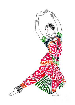 Indian Dance Drawing - Grace by Anushree Santhosh