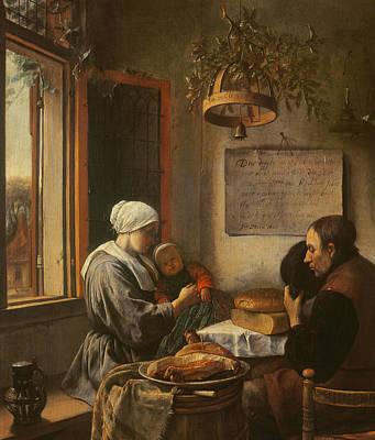 Dinner Painting - Grace Before Meat by Jan Havicksz Steen