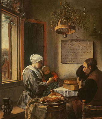 Interior Still Life Painting - Grace Before Meat by Jan Havicksz Steen