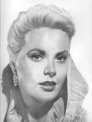 Grace Kelly Drawing - Grace Kelly by Karen  Townsend