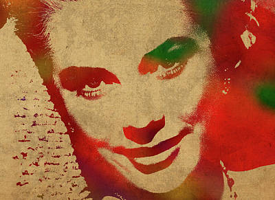 Grace Kelly Mixed Media - Grace Kelly Watercolor Portrait by Design Turnpike