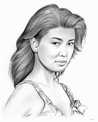 Hollywood Drawing - Grace Park by Greg Joens