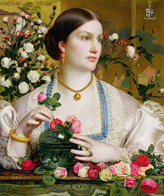 Necklace Painting - Grace Rose by Anthony Frederick Augustus Sandys