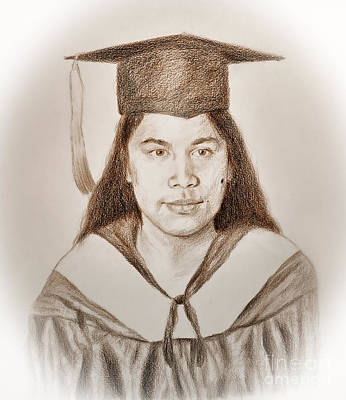 Beauty Mark Drawing - Graduation Portrait Of A Filipina Beauty  by Jim Fitzpatrick