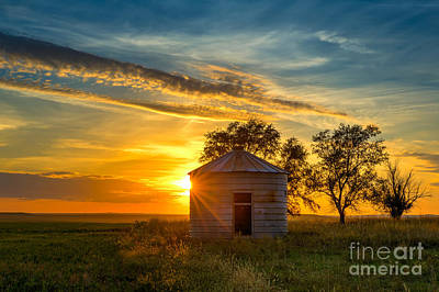 Witten Photograph - Grain Bin At Sunset by Kendra Perry-Koski