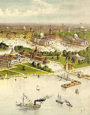 Grant Park Drawing - Grand Birds Eye View Of The Grounds And Buildings Of The Great Columbian Exposition At Chicago, Illi by Currier and Ives