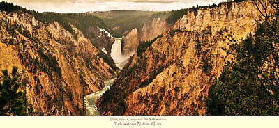 Yellowstone Photograph - Grand Canyon Of The Yellowstone With Caption by Greg Norrell
