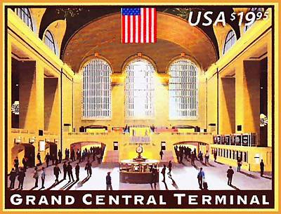 Color Painting - Grand Central Terminal Stamp by Lanjee Chee