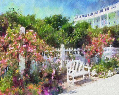 Digital Painting - Grand Hotel Gardens Mackinac Island Michigan by Betsy Foster Breen