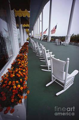 Rocking Chairs Photograph - Grand Hotel, Mackinac Island by Lowell Georgia