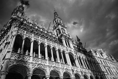 Brussels Photograph - Grand Place Mono 2 by Chris Fletcher