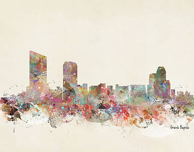 Colourfull Painting - Grand Rapids City by Bri B