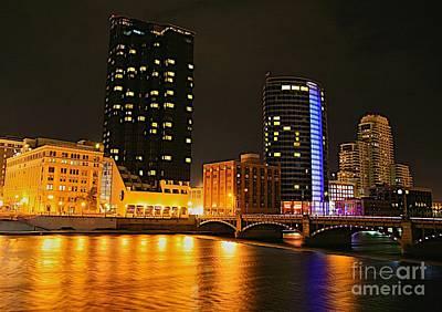 Grand Rapids Mi Under The Lights-2 Print by Robert Pearson