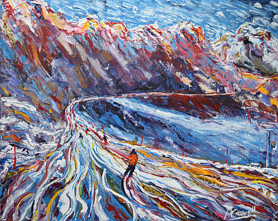 Ski Painting - Grand Renard by Pete Caswell