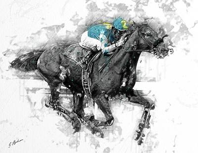 Horse Racing Digital Art - American Pharoah Grand Slam 15 by Gary Bodnar