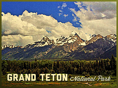 Snowy Digital Art - Grand Teton National Park by Flo Karp