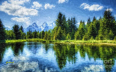 Scenic Mixed Media - Grand Teton Reflections by Garland Johnson