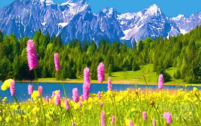 Scenic Mixed Media - Grand Teton Watercolor by Garland Johnson
