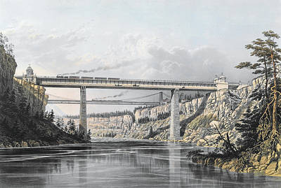 Architecture Drawing - Grand Trunk Railway Of Canada  The Victoria Bridge by S Russell
