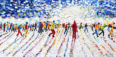 Snowboarding Painting - Grande Motte Tignes by Pete Caswell