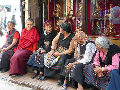 Sangha Photograph - Grandmothers' Talk After Morning Prayer by Dagmar Batyahav
