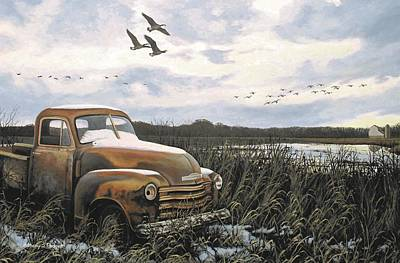 Snow Geese Painting - Grandpa's Old Truck by Anthony J Padgett