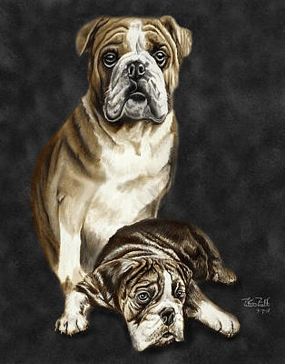 English Bulldog Drawing Drawing - Grandson Of Sampson 2 by Peter Piatt