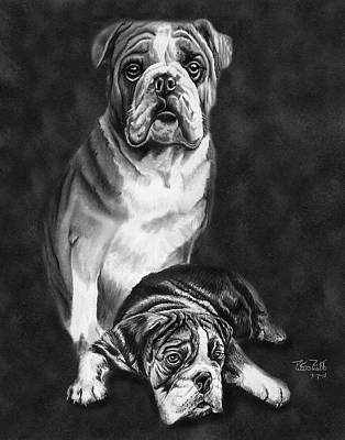 English Bulldog Drawing Drawing - Grandson Of Sampson by Peter Piatt