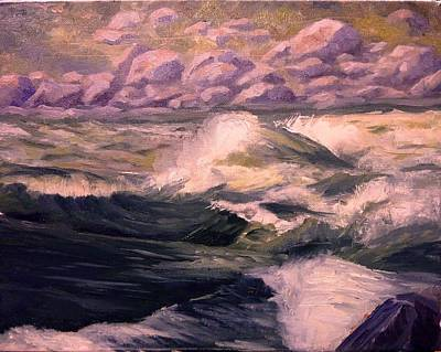 White Water Rafting Painting - Granite Rapids Snake River Idaho by Tom Siebert