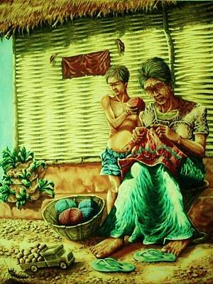 Painting - Granny And Grand Son by Pralhad Gurung
