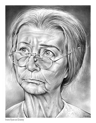 Comedy Drawing - Granny by Greg Joens