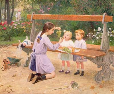 Park Benches Painting - Grape Tasting  by Victor Gabriel Gilbert