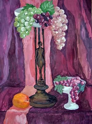 Purple Grapes Drawing - Grape by Veronica Petrova