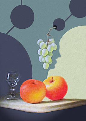 Painted Wine Glass Photograph - Grapes And Apples by Munir Alawi