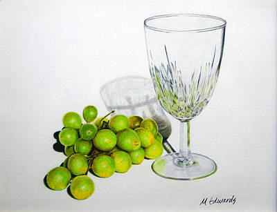 Thinking Of You Drawing - Grapes And Crystal by Marna Edwards Flavell