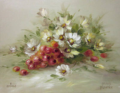 Grapes And Daisies Print by David Jansen