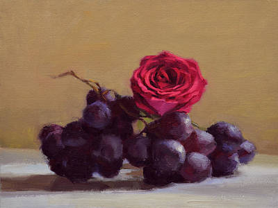 Grape Painting - Grapes And Rose by Ben Hubbard
