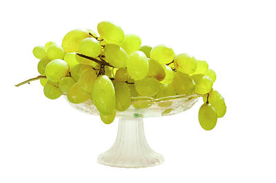 Grapes In A Glass Vase Print by larisa Fedotova