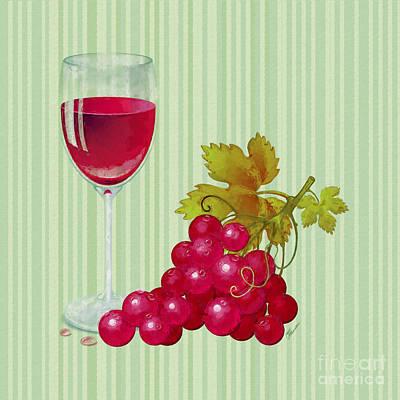 Glass Of Wine Mixed Media - Grapes by Olga Hamilton