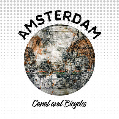 Old Town Digital Art - Graphic Art Amsterdam Canal And Bicycles by Melanie Viola