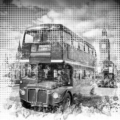 Graphic Art London Westminster Buses Print by Melanie Viola