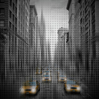 Abstract Movement Digital Art - Graphic Art Nyc 5th Avenue Yellow Cabs II by Melanie Viola