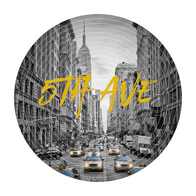 Empire State Building Digital Art - Graphic Art Nyc 5th Avenue Yellow Cabs by Melanie Viola