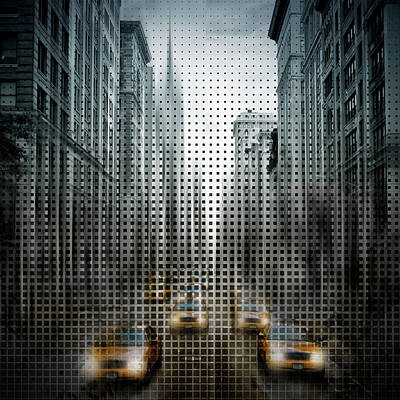 Graphic Art Nyc 5th Avenue Yellow Cabs V Print by Melanie Viola