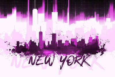 Ny.nyc.abstract Digital Art - Graphic Art Nyc Skyline II - Pink by Melanie Viola